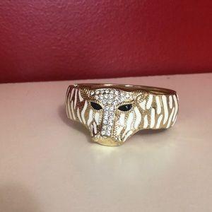 Gold and Pave Tiger Head Bracelet